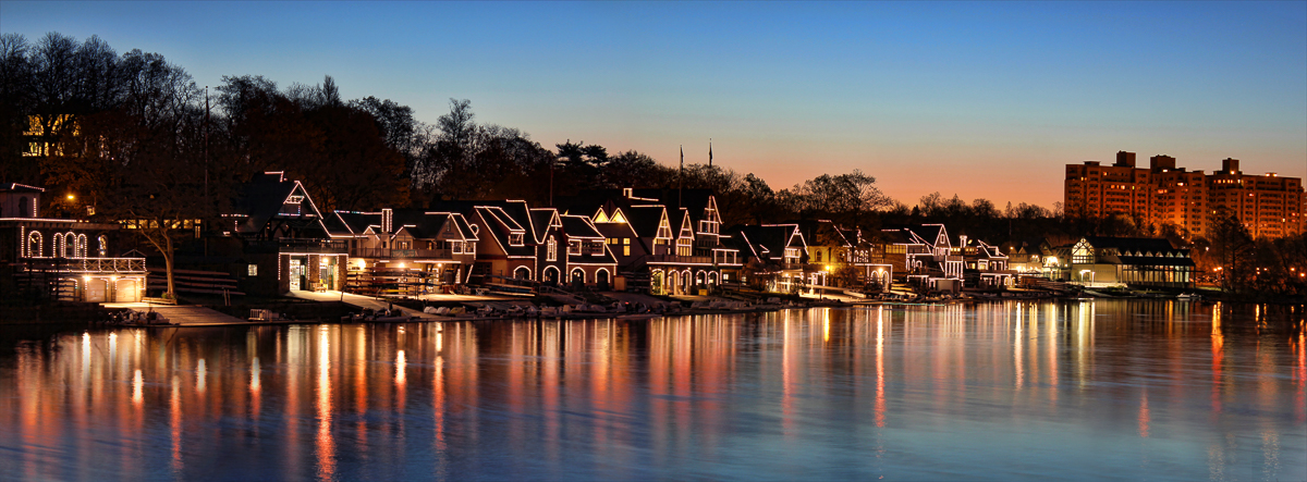 Boat house row panorama (night)